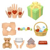 Charitable Foundation. Icons on helping people and donation.. Charitable Foundation. Icons on helping people and donation.Charity and donation icon in set Stock Photo