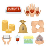 Charitable Foundation. Icons on helping people and donation.Charity and donation icon in set collection on cartoon style Royalty Free Stock Photo