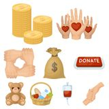 Charitable Foundation. Icons on helping people and donation.Charity and donation icon in set collection on cartoon style Royalty Free Stock Image