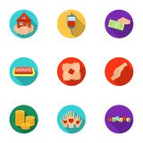 Charitable Foundation. Icons on helping people and donation.Charity and donation icon in set collection on flat style. Vector symbol stock web illustration Stock Photo