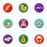 Charitable Foundation. Icons on helping people and donation.Charity and donation icon in set collection on flat style Royalty Free Stock Photography