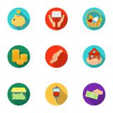 Charitable Foundation. Icons on helping people and donation.Charity and donation icon in set collection on flat style Stock Images