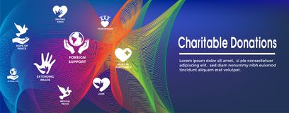 Charitable Giving & Donations Header Banner and Icon set. Charitable Giving and Donations Header Banner and Icon set