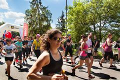 Charitable run `RunTour-Brno` in the dam area. Run to support the Foundation for the Blind. Royalty Free Stock Image