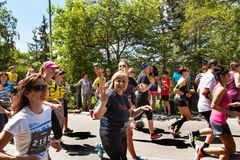 Charitable run `RunTour-Brno` in the dam area. Run to support the Foundation for the Blind. Royalty Free Stock Photography