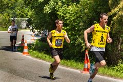 Charitable run `RunTour-Brno` in the dam area. Run to support the Foundation for the Blind. Stock Photo