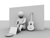 Charity. Guy with his guitar made in maya and rendered with c4d Royalty Free Stock Photography
