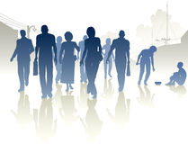 Charity. Editable  silhouettes of a woman from a crowd giving to a beggar Royalty Free Stock Images