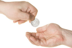 Charity. Hand giving charity isolated over white background royalty free stock photos