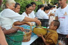 Charity activities in buddhism Stock Photography