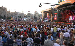 Charity Anti-AIDS concert at the Independence Square in Kyiv Royalty Free Stock Photo