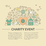 Charity Banner. Card or poster template with charity and fundraising objects. Volunteer poster. Funsraising event card template. Vector illustration with place vector illustration