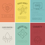 Charity Banner. Collection of vector banner templates with charity objects. Poster for non-profit organizaiton, fundraising event, volunteer centre. Vector line vector illustration