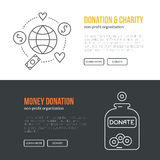 Charity Banner. Banner template with charity and donation icons and symbols. Line style vector illustration. Charity work hro image or web site design for non Stock Photos