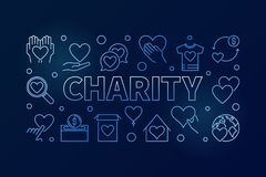 Charity blue horizontal illustration - vector line banner. Charity blue horizontal illustration - vector bright creative banner in thin line style on dark stock illustration