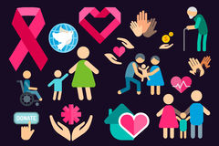 Charity care flat icons set Stock Photos
