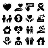 Charity and Care Icons Set Stock Images