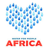 Charity clean Water poster. Social illustration about problems Africa. Giving donations for African children and people. Foundatio Royalty Free Stock Photo