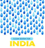 Charity clean Water poster. Social illustration about problems India. Giving donations for Indian children and people. Foundation Stock Photography