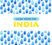 Charity clean Water poster. Social illustration about problems India. Giving donations for Indian children and people. Foundation Royalty Free Stock Photography
