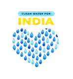 Charity clean Water poster. Social illustration about problems India. Giving donations for Indian children and people. Foundation. Charity Water poster. Social Royalty Free Stock Image