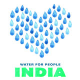 Charity clean Water poster. Social illustration about problems India. Giving donations for Indian children and people. Foundation Stock Photos