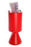 Charity collection with canadian dollar. Charity collection container with Canadian dollars studio cutout Royalty Free Stock Photos