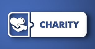 Charity Concept on Blue in Flat Design Style. Royalty Free Stock Image