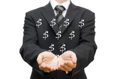 Charity concept. The open hands of businessman receiving dollar sign Royalty Free Stock Image