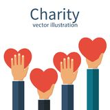 Charity concept vector. Charity concept. Donator holding heart in their hands. Vector illustration flat design. Isolated on white background. Volunteer Poster vector illustration