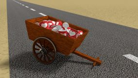 Charity concept wooden cart on street filled with canned food Stock Photos