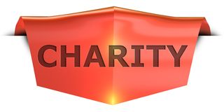 Banner charity. Charity 3D rendered red banner , isolated on white background Stock Photos
