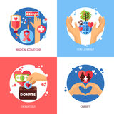 Charity Design Concept Icons Set Royalty Free Stock Images