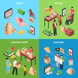 Charity 2x2 Isometric Design Concept. Charity 2x2  design concept with set of isometric icons on theme of donating money clothing food and toys for children Royalty Free Stock Images