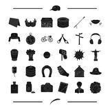 Charity, dessert, travel and other web icon in black style. astronomy, horse racing icons in set collection. Royalty Free Stock Images