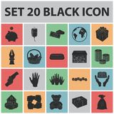 Charity and donation black icons in set collection for design. Material aid vector symbol stock web illustration. Royalty Free Stock Photography