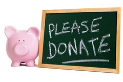 Charity donation box please donate message, piggybank Royalty Free Stock Image