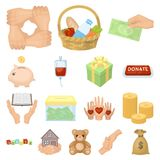 Charity and donation cartoon icons in set collection for design. Material aid vector symbol stock web illustration. Royalty Free Stock Photos