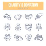 Charity & Donation Doodle Icons. Doodle  line icons set of charity, giving help and donating money Royalty Free Stock Photos