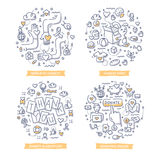 Charity & Donation Doodle Illustrations. Doodle concepts of charity and gratitude, giving help and money, making donations. Charity foundation concepts royalty free illustration