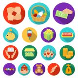 Charity and donation flat icons in set collection for design. Material aid vector symbol stock web illustration. Stock Photography