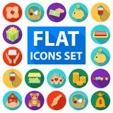Charity and donation flat icons in set collection for design. Material aid vector symbol stock web illustration. Royalty Free Stock Photo