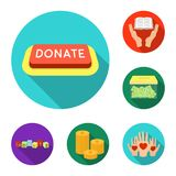 Charity and donation flat icons in set collection for design. Material aid vector symbol stock web illustration. Charity and donation flat icons in set Stock Photos