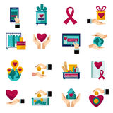 Charity donation flat icons set. International charity organization heart symbol flat icons set of food and clothes donation abstract  vector illustration Stock Images