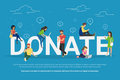 Charity donation funding concept illustration. Of young men and women using devices such as laptop, smartphone, tablets to donate money and goods. Flat people Royalty Free Stock Photos