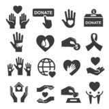 Charity donation and help symbol icon set. Organization image, money to help people, sick, poor, with disability. Vector line art illustration on white stock illustration