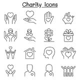 Charity & Donation icon set in thin line style. Charity Stock Photo