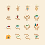 Charity and donation icons flat line design vector Royalty Free Stock Photo
