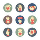 Charity and donation icons flat style set Stock Photo