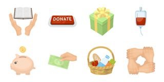 Charity and donation icons in set collection for design. Material aid vector symbol stock web illustration. Royalty Free Stock Photo